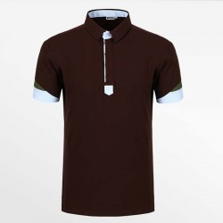 Polo shirt men from HCTUD brown with blue and green with EU Ecolabel.