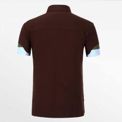 Bruine heren polo shirt met een yoke is het bewijs van een kwaliteits-polo.