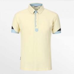 Poloshirt Männer von HCTUD gelb mit blau und anthrazit aus Öko-Stoff.