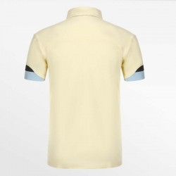 Yellow men's polo shirt with a yoke is proof of luxury and quality.