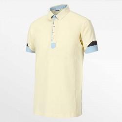 Polo homme jaune et bleu en tissu écologique HCTUD Micro-modal.