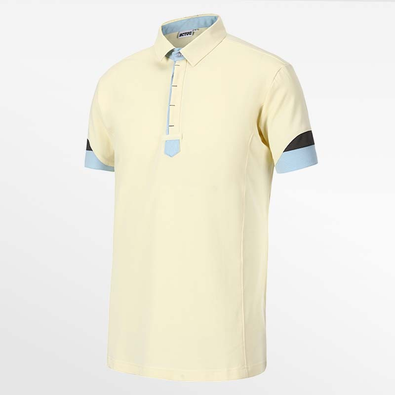 Men-s polo shirt yellow with blue from HCTUD Micro-modal eco fabric.