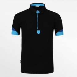 Polo shirt men black with blue with micro modal. HCTUD