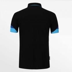 Zwart met blauw heren poloshirt met een yoke. luxe en kwaliteit HCTUD.