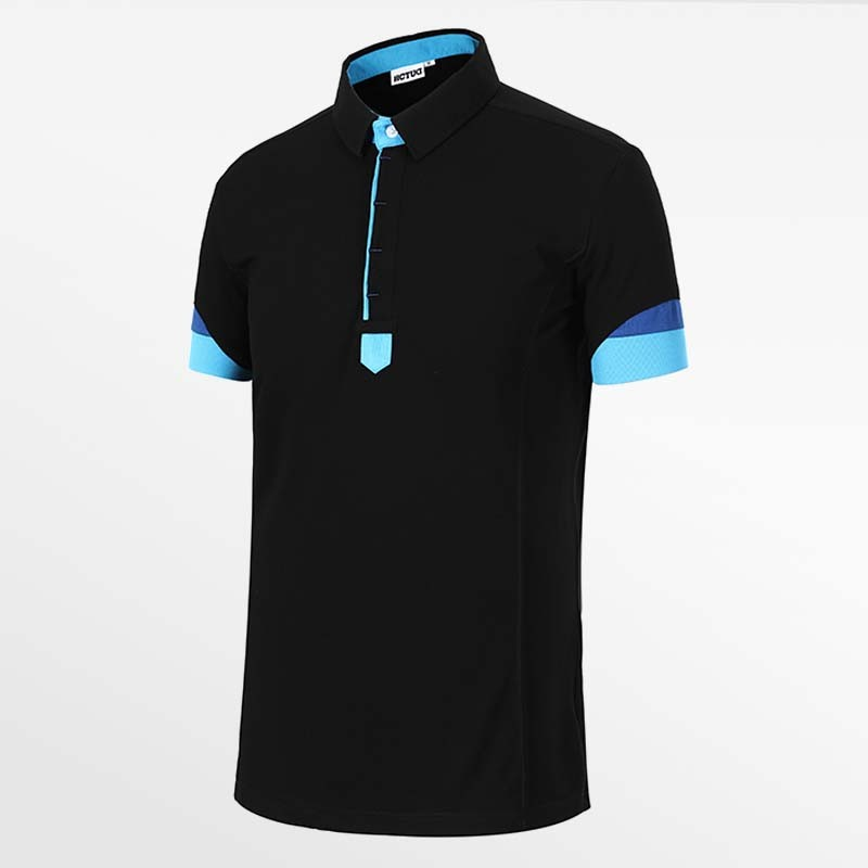 Men-s polo shirt black with blue from HCTUD Micro-modal Tencel.