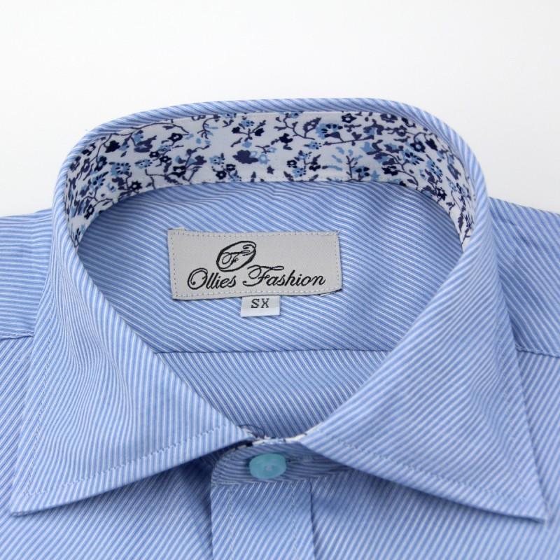 Overhemd heren lichtblauw semi spread boord | Ollies Fashion