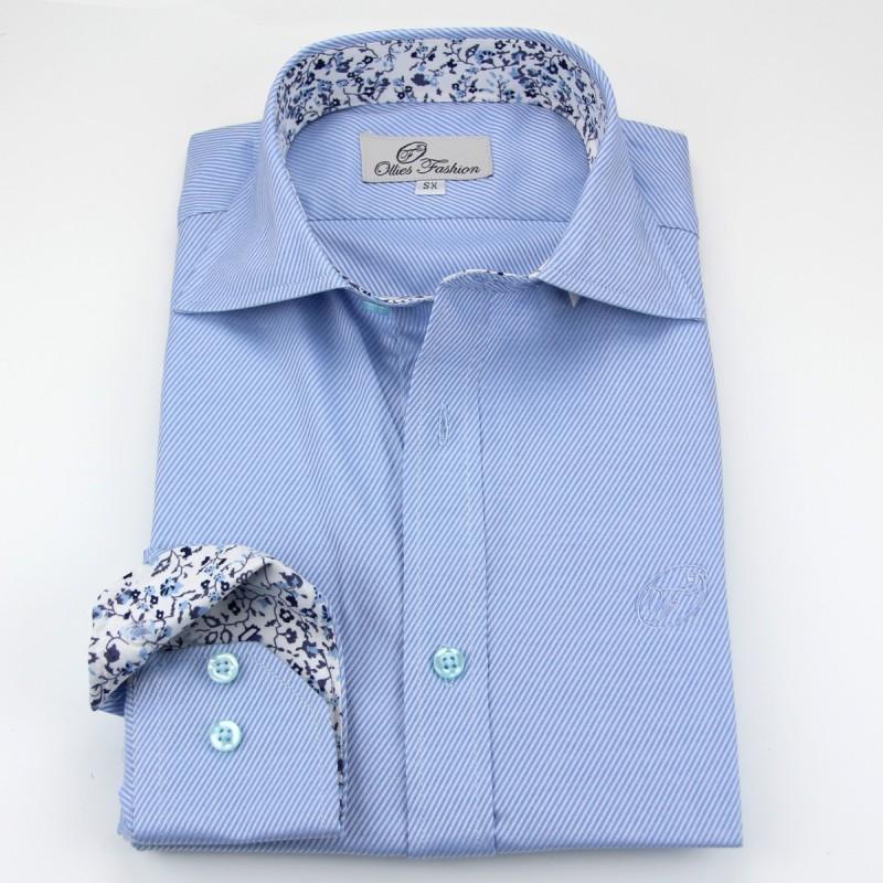 Overhemd heren lichtblauw wit twill | Ollies Fashion