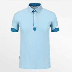 Polo shirt men blue with white with micro modal. HCTUD