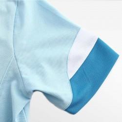HCTUD blauw met wit heren poloshirt met dubbele kleur mouwen.