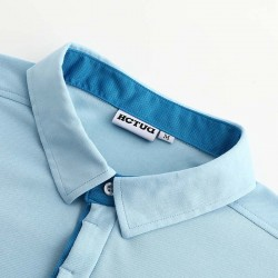 Poloshirt Männer blau von HCTUD mit blauer Doppel-kragenfarbe.