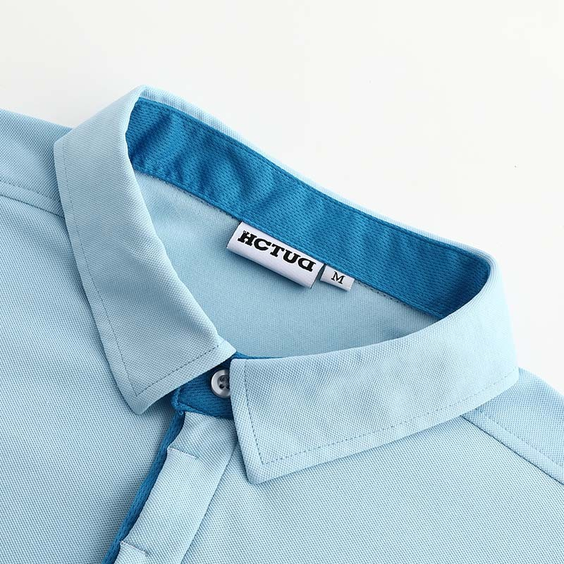Polo-shirt men blue from HCTUD with blue double collar color.