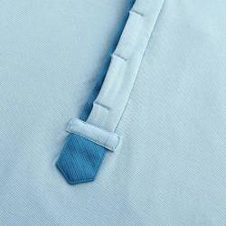 Polo homme bleu-clair et bleu avec boutons cachés de chez HCTUD.