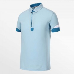 Men-s polo shirt light blue from HCTUD Micro-modal Tencel.