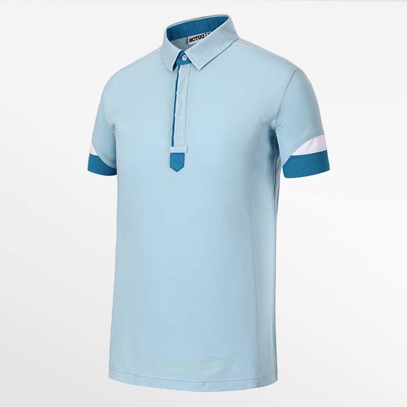 Heren polo shirt licht blauw van HCTUD Micro-modal Tencel.