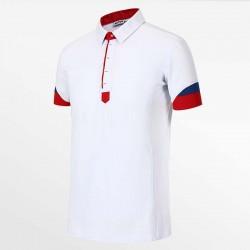 Heren polo shirt wit, rood en bauw van HCTUD Micro-modal Tencel.
