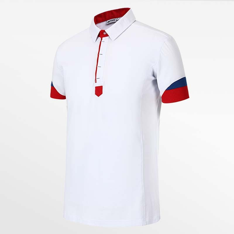 Men-s polo shirt white, red and blue from HCTUD Micro-modal Tencel.