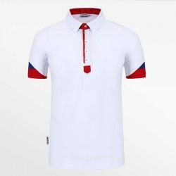 Poloshirt heren wit met rood en blauw met micro-modal. HCTUD.