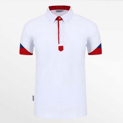 Polo shirt men white with red and blue with micro-modal. HCTUD.