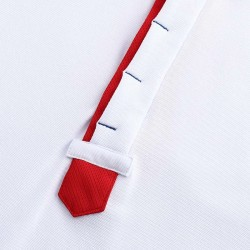 Polo weiße, blaue und rote Männer mit versteckten Knöpfen von HCTUD.