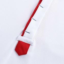 Polo homme blanc, bleu et rouge avec boutons cachés de chez HCTUD.