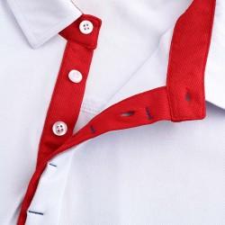 Polo homme blanc avec du rouge dans le col. version de luxe avec boutons cachés.