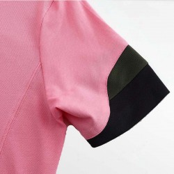 HCTUD pink men's polo shirt with wave sleeves with black and green.