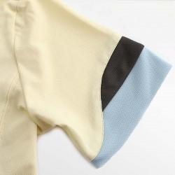 Gelbes Herren-Poloshirt HCTUD mit Wellenärmeln in Blau und Anthrazit.