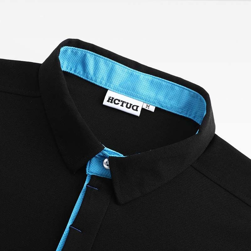 Polo-shirt heren zwart van HCTUD met blauwe dubbele kraag kleur.