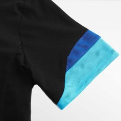 HCTUD black with blue men's polo shirt with double color sleeves.