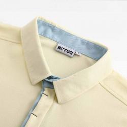 Heren polo-shirt geel van HCTUD met blauwe dubbele kraag kleur.