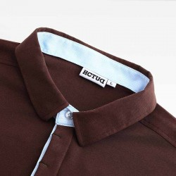 Men's polo shirt brown from HCTUD with blue double collar color.