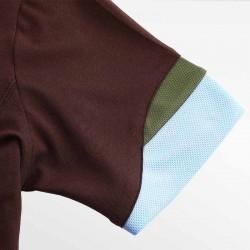 HCTUD bruine heren polo shirt met wave mouwen met blauw en groen.