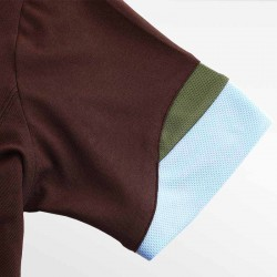 HCTUD brown men's polo shirt with wave sleeves with blue and green.