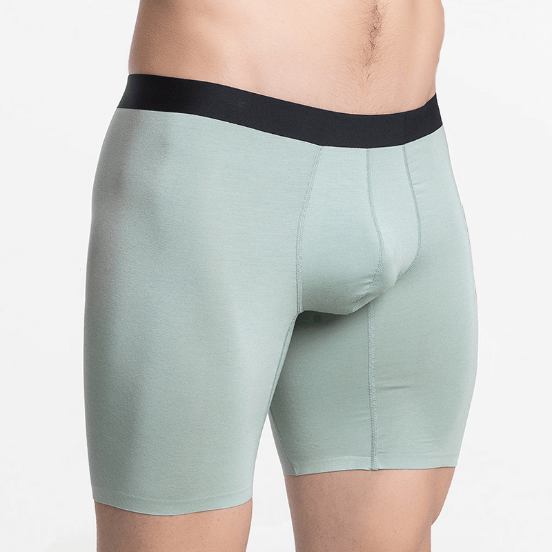 Green boxer shorts with long legs premium underwear Micromodal