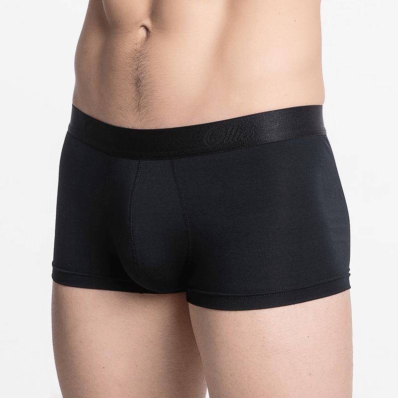 Schwarze Boxershorts für Männer mit einer schönen flachen Naht