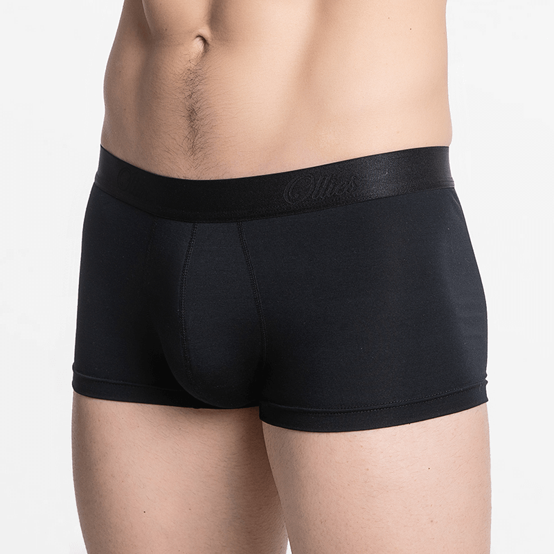 Black men's boxer shorts with a nice flat seam