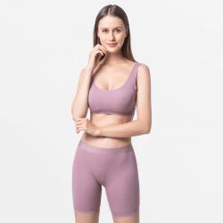 Dames boxershort lang aubergine naadloos premium ondergoed