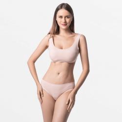Seamless beige breathable ladies underwear Micromodal
