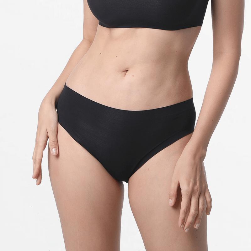 Durable black ladies panties with ultra comfortable flat seams