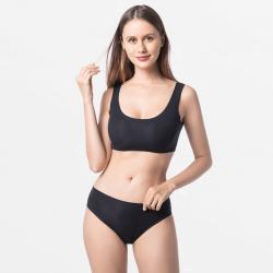 Zwart naadloos dames ondergoed bikini fijn voor je huid