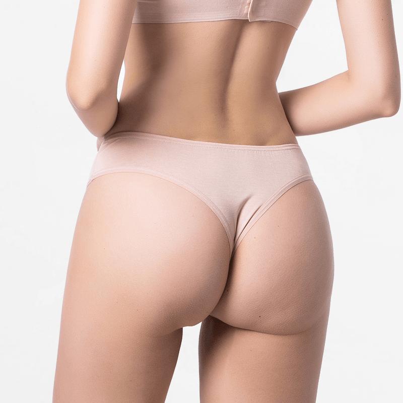 Femmes brésiliennes string fin beige pour votre peau Micromodal