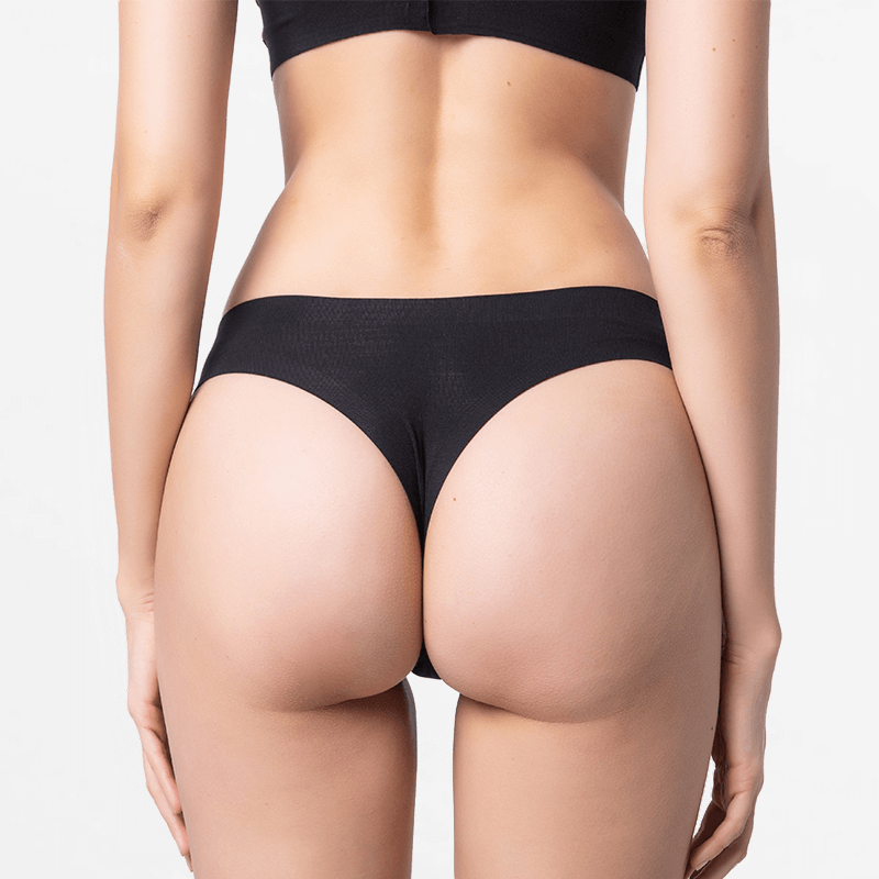 Brazilian ladies thong black perfectly fine for your skin