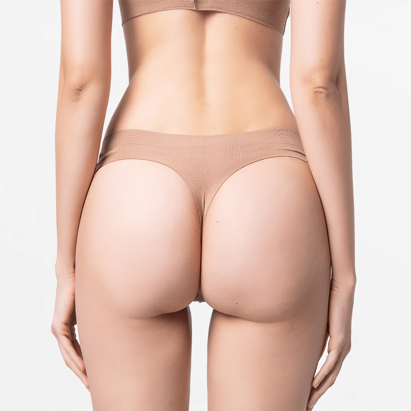 Comfortable seamless brown ladies thong