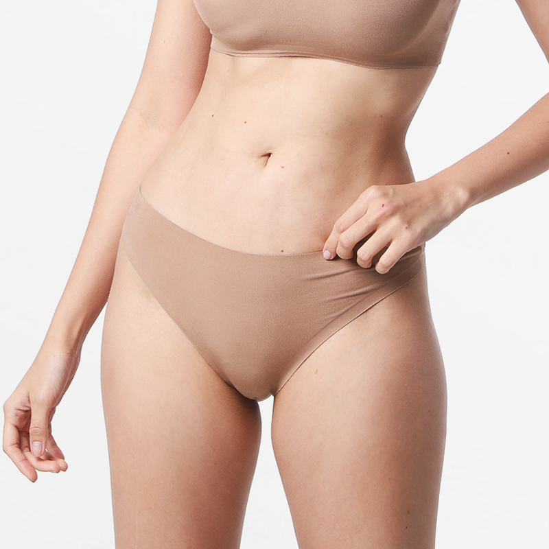 Brazilian ladies seamless thong brown fine for your skin Micromodal