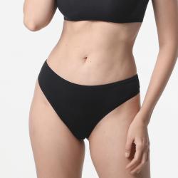 Zwarte vlakke naad dames ondergoed string met goede pasvorm