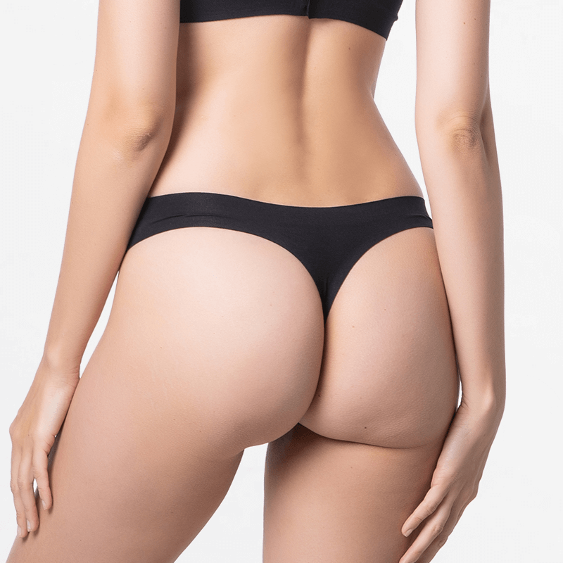 Seamless black string with Modal sustainable alternative