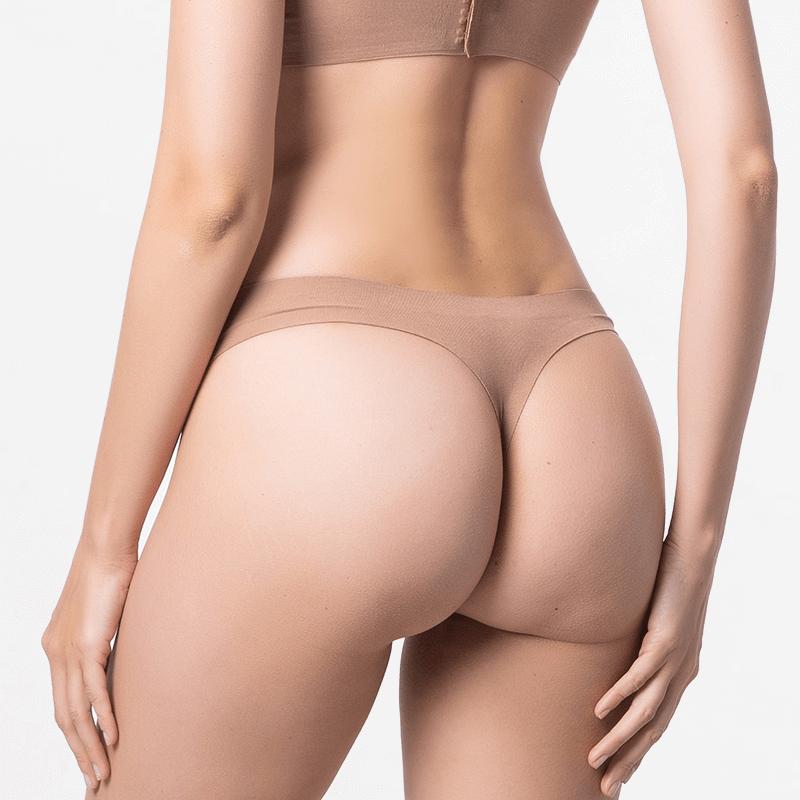 Seamless underwear thong brown