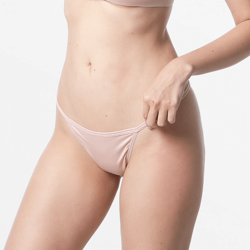 Tanga beige G-string dames ademend duurzaam MicroModal