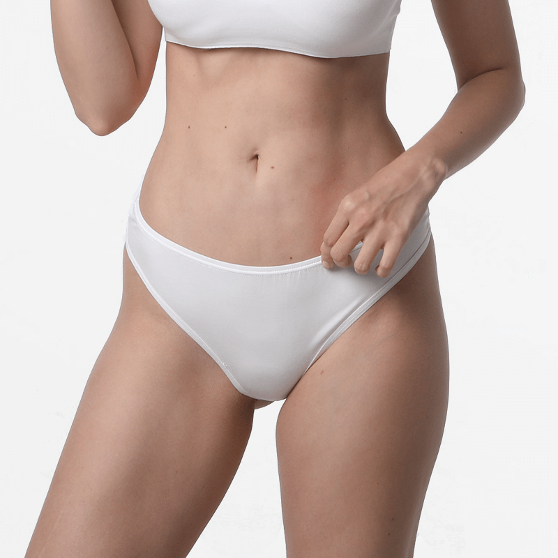 Damen Unterwäsche Slip string Elfenbein Micromodal