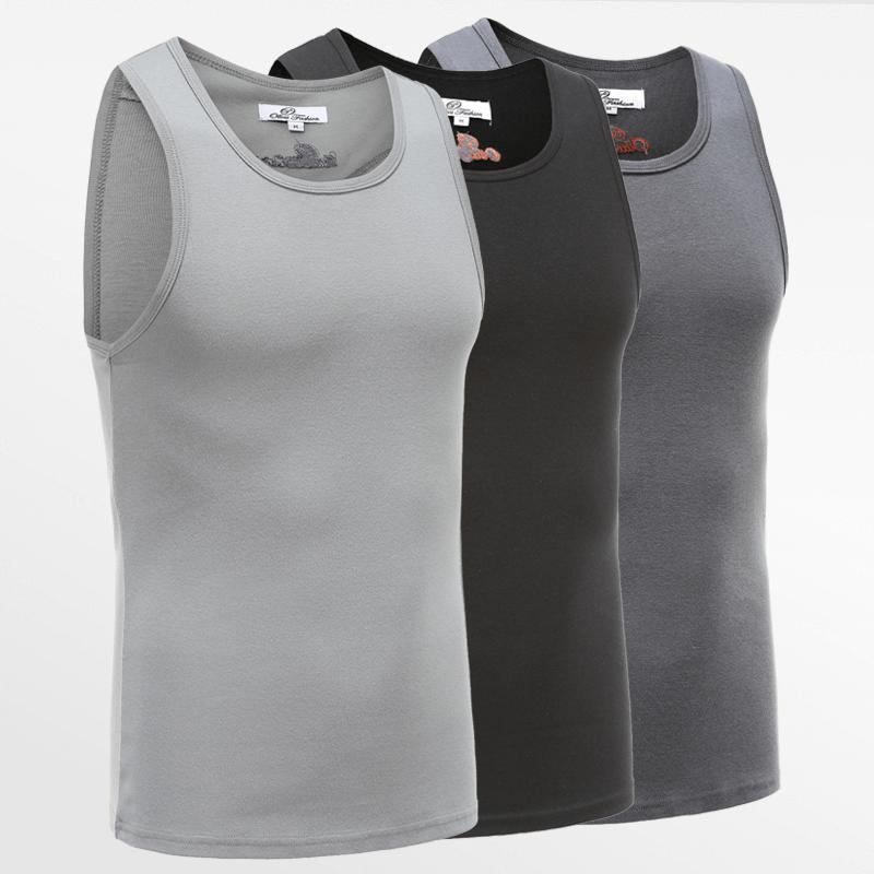 Tank Top singlet action set von 3 in schwarz, grau und anthrazit | Ollies Fashion